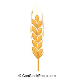 Wheat spike yellow isolated on white background. Flat color