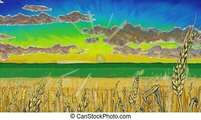 wheat spikes over golden fields at sunset, cartoon animation