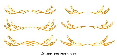 wheat spikes set icon with design elements - Hand drawn ...