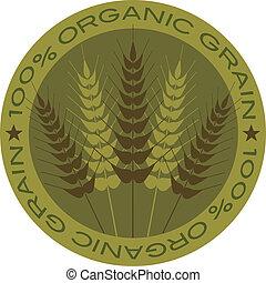 Wheat Stalk 100% Organic Grain Label