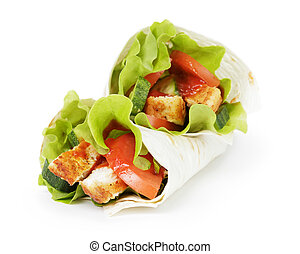 wheat tortilla with chicken and vegetables on white...