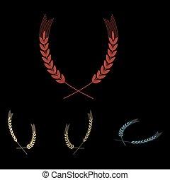 Wheat vector icon set