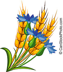 Wheat with cornflowers. Over white. EPS 8, AI, JPEG