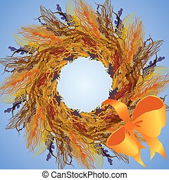 Wheat wreath and ribbon with bow, circle frame.