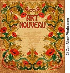 Wheaten background in art nouveau style, vector illustration