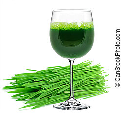 wheatgrass juice in a glass isolated on a white background