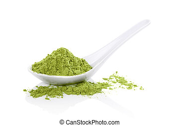 Wheatgrass powder on white spoon isolated on white background. Natural detox, healthy living. Alternative medicine.