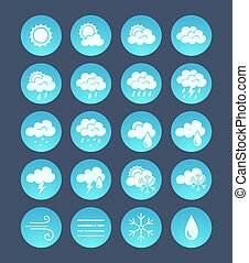 Wheather icons on gradient blue round shape.