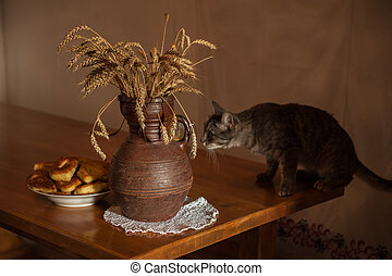 wheats and old jug - Wheats and old jug with playful cat on...