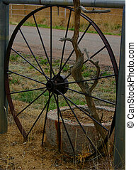 Antique bicycle wheel used as part of a fence in Penrose, Colorado