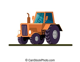 Wheel agricultural tractor. Colored vector illustration on white