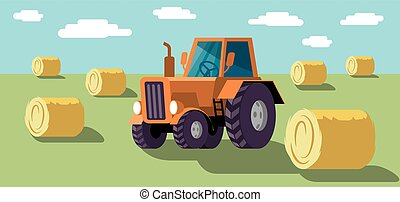 Wheel agricultural tractor. Harvesting. Colored illustration
