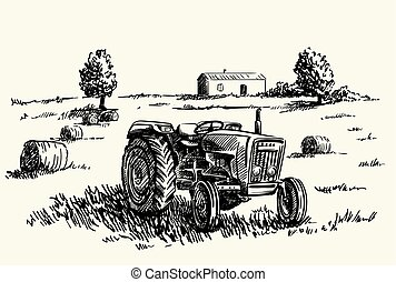Wheel agricultural tractor. vector sketch