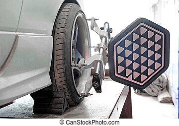 Wheel alignment equipment on a car wheel