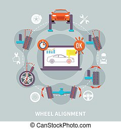 Wheel alignment flat design concept with icons of car in auto service computer tools for balance diagnostics vector illustration