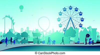 Wheel amusement parks with backdrop buildings