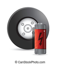 wheel and battery illustration