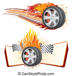 wheel and flame - fiery racing tire,automobile race element