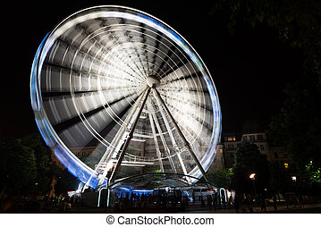 night park with ferris wheel in Budapest