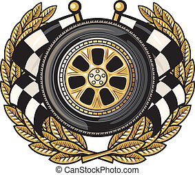 wheel and laurel wreath