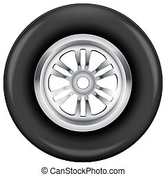 wheel and tire symbol. Illustration isolated on white...