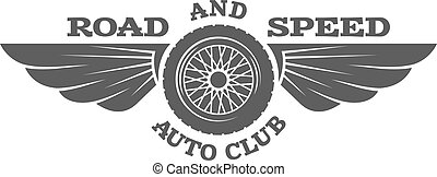 Wheel and wings, vintage car emblem, badge. - Wheel and...