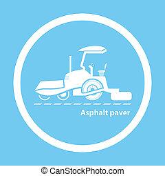 Wheel asphalt paver - Silhouette of wheel asphalt paver on ...
