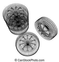 wheel., automobile, cima, illustrazione, computer, vista., disegno, 3d