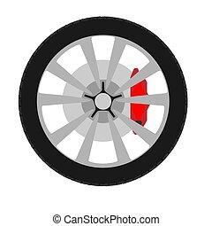 Wheel automobile transport equipment car sign. Flat vector repair icon