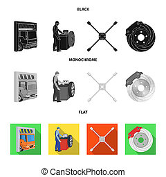 Wheel balancing, spanner and brake disc black, flat, monochrome icons in set collection for design.Car maintenance station bitmap symbol stock illustration web.
