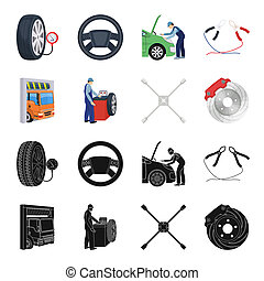 Wheel balancing, spanner and brake disc black,cartoon icons in set collection for design.Car maintenance station bitmap symbol stock illustration web.