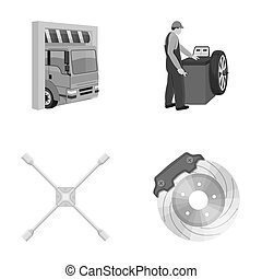 Wheel balancing, spanner and brake disc monochrome icons in set collection for design.Car maintenance station bitmap symbol stock illustration web.