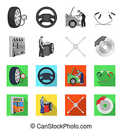Wheel balancing, spanner and brake disc monochrome,flat icons in set collection for design.Car maintenance station bitmap symbol stock illustration web.