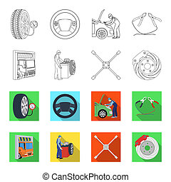 Wheel balancing, spanner and brake disc outline,flet icons in set collection for design.Car maintenance station bitmap symbol stock illustration web.