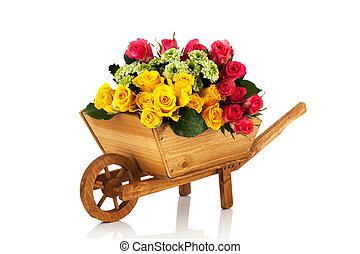 Wheel barrow flowers