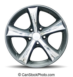 Wheel - Car alloy rim on white background