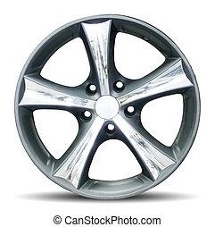 Car alloy rim on white background