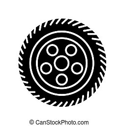 wheel car icon, vector illustration, black sign on isolated background