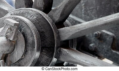 wheel carts - fragment of a rotating wheel wooden ancient...