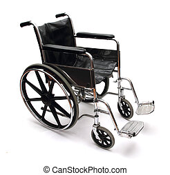 wheel chair - a black and silver wheel chair on white...