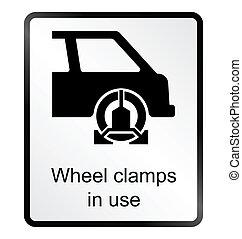 Wheel Clamp Information Sign - Monochrome wheel clamp public...