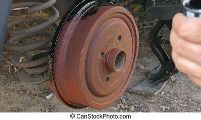 wheel., couleur, peintures, calibre, remplacer, noir, frein, homme, rouille, avant