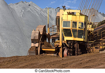 Wheel digger - A wheel digger used to excavate minerals at a...