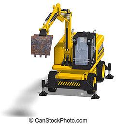 wheel excavator - rendering of a wheel excavator with...