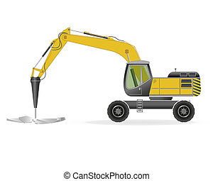 Wheel excavator with hydraulic hammer isolated on white. EPS...