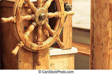 wheel., fából való, vitorlás hajó, yachting., detail., hajó, kormányzó
