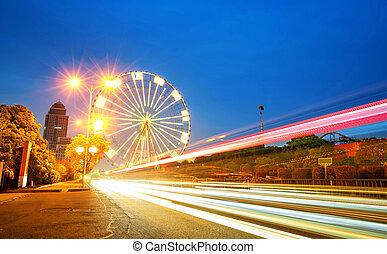 wheel., ferris, girar, noche