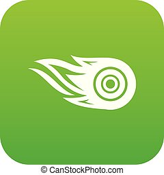 Wheel fire icon green vector