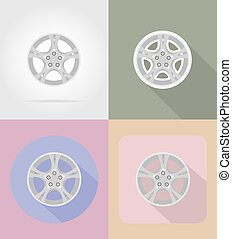 wheel for car flat icons vector illustration