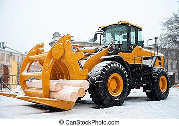 Wheel front end log loader